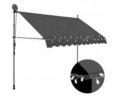 vidaXL Toldo manual retráctil con LED gris antracita 300 cm