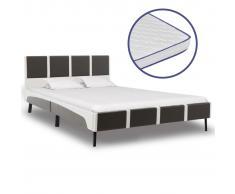 vidaXL Cama con colchón viscoelástico de cuero sintético 140x200 cm