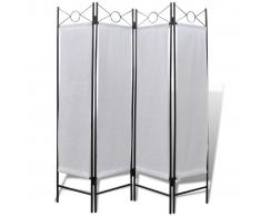 vidaXL Biombo blanco clásico con 4 paneles, 160 x 180 cm