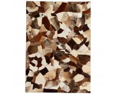 vidaXL Alfombra de retazos de cuero 160x230 cm aleatorio marrón/blanco