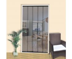 vidaXL Mosquitera de puerta cortina malla 5 piezas 220 x 125 cm poliéster negro