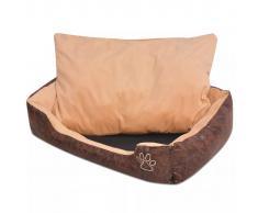 vidaXL Cama para perro con cojín PU cuero artificial talla L marrón