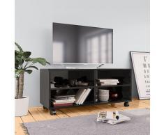 vidaXL Mueble de TV con ruedas aglomerado negro brillante 90x35x35 cm