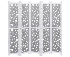 vidaXL Biombo de 5 paneles de madera maciza gris 175x165 cm