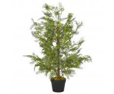 vidaXL Planta artificial árbol ciprés con macetero 90 cm verde