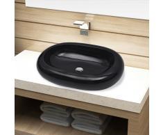 vidaXL Lavabo de cerámica negro ovalado