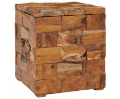vidaXL Taburete con almacenamiento madera maciza de teca 40x40x45 cm