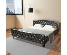 vidaXL Cama de cuero sintético negro con colchón 180x200 cm