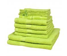 vidaXL Juego de toallas 12 piezas algodón 500 gsm verde manzana