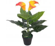 vidaXL Planta cala lilly artificial con macetero 45 cm roja y amarilla