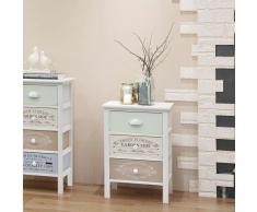 vidaXL Armario de almacenaje francés raído y elegante 3 cajones de madera
