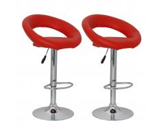 vidaXL Taburetes de bar rojos 2 unidades