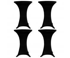 vidaXL Mantel elástico para mesa alta 4 unidades negro Ø60 cm