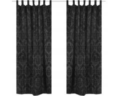 vidaXL 2 cortinas negras barrocas de tafetán con lengüetas, 140 x 225 cm
