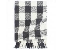 vidaXL Manta a cuadros de algodón gris antracita 160x210 cm
