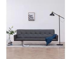 vidaXL Sofá cama con reposabrazos de cuero sintético gris