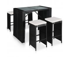 vidaXL Mesa y sillas de bar de jardín 5 pzas ratán sintético y cristal