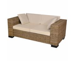 vidaXL Conjunto de sofá dos plazas 7 piezas ratán real