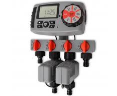 vidaXL Temporizador de riego automático con 4 estaciones 3 V
