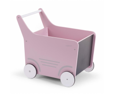 CHILDWOOD Carrito andador de madera juguete rosa WODSTRP
