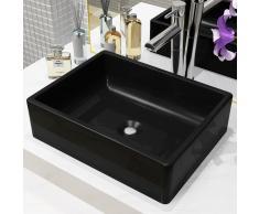vidaXL Lavabo de cerámica rectangular negro 41x30x12 cm