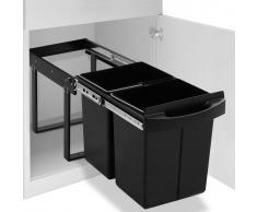 vidaXL Cubo de basura de cocina extraíble reciclaje cierre suave 48 L