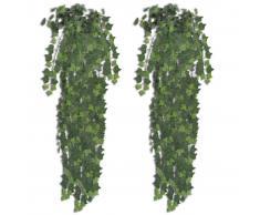 vidaXL Hiedra artificial verde, 90 cm, 2 pzas
