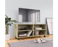 vidaXL Mueble TV con ruedas aglomerado color roble Sonoma 90x35x35 cm