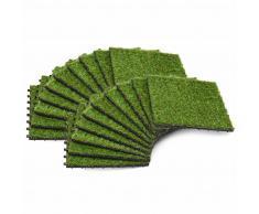 vidaXL Azulejos con césped artificial 20 uds 30x30 cm verde