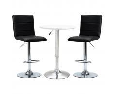 vidaXL Set de mesa alta y taburetes de bar 3 piezas blanco cuero sintético