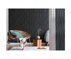 vidaXL Rollos de papel pintado no tejido 4 uds ondas negro 0,53x10 m