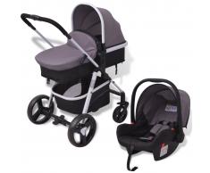 vidaXL Cochecito de bebé 3 en 1 gris y negro aluminio