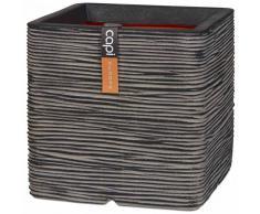 Capi Maceta Nature Rib cuadrada 30x30 cm gris antracita PKOFZ902