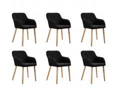 vidaXL Sillas de comedor 6 uds tela negra y madera maciza de roble