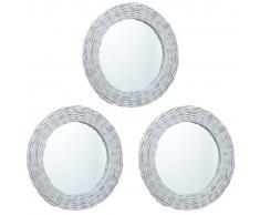 vidaXL Espejos 3 unidades mimbre blanco 15 cm