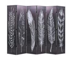 vidaXL Biombo divisor plegable 228x180 cm plumas blanco y negro