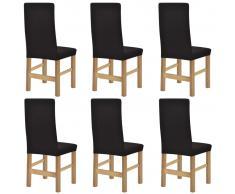 vidaXL fundas elásticas para sillas con respaldo 6 unidades (Marrón)