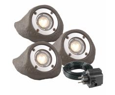 Garden Lights Foco de luz LED Lapis gris poliresina 3 uds. 3577443