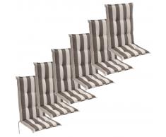 vidaXL Cojín para sillas de jardín 6 unidades 120x52 cm rayas grises