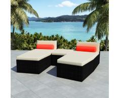 vidaXL Set de sofás de jardín modulares 14 piezas poli ratán negro