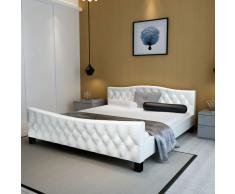 vidaXL Cama de matrimonio con colchón viscoelástico 140x200 cm blanca