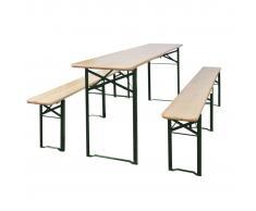 vidaXL Mesa plegable y bancos madera del abeto