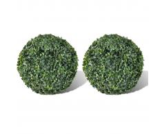vidaXL Arbusto de bolas Boj artificial H27 cm 2 unidades