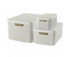 Curver Cestas de almacenaje con tapa Style 3 unidades blanca 240652