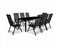 vidaXL Set de muebles jardín plegables 9 piezas aluminio negro