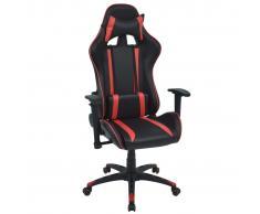 vidaXL Silla de escritorio Racing reclinable de cuero artificial roja