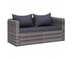 vidaXL Juego de sofás de esquina de jardín 2 piezas ratán PE gris
