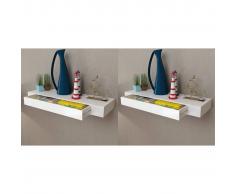 vidaXL Estantes de pared flotantes con cajones 2 uds blanco 80 cm
