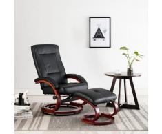 vidaXL Sillón reclinable con reposapiés cuero sintético negro