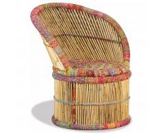 vidaXL Butaca de bambú con detalles chindi multicolor